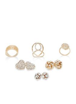 Rhinestone Stud Earrings and Ring Trio - 1138062924928
