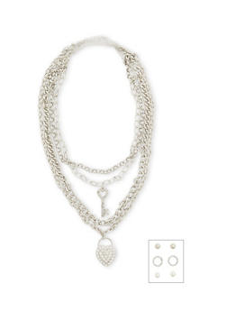 Multi Chain Necklace with Assorted Earrings - 1138062925601
