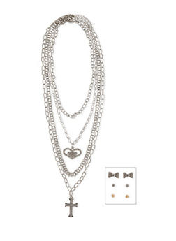 4 Piece Heart and Cross Necklace with 3 Sets of Earrings - 1138062925602