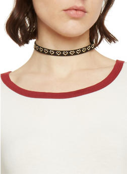 3 Piece Faux Leather Arrow Heart Choker - 1138062925756