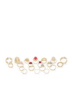 Assorted Glitter Rhinestone Ring Set - 1138062926230