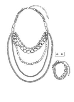 5 Layer Tiered Mix Chain Necklace with Bracelets and Earrings Set - 1138062926609