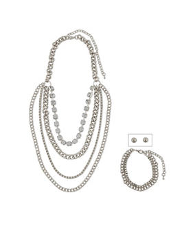 Tiered 4 Layer Rhinestone Chain Necklace with Earring Set - 1138062926611
