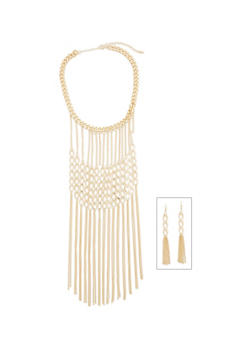 Curb Chain Long Fringe Necklace with Earrings - 1138062926821
