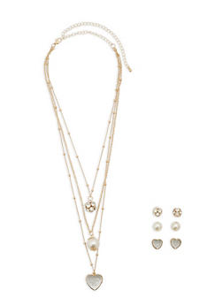 Layered Rhinestone Necklace with Stud Earrings - 1138062927661