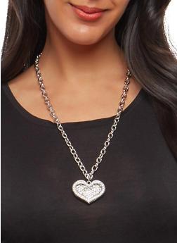 Rhinestone Heart Necklace with Stud Earrings - 1138062927879