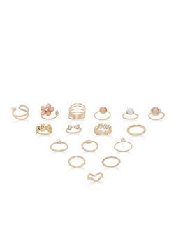 Faux Pearl Rhinestone Rings Set - 1138062928397