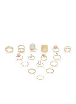 Assorted Glitter Metallic Rings Set - 1138062928406