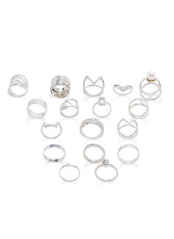 Assorted Rhinestone Rings Set - 1138062928407