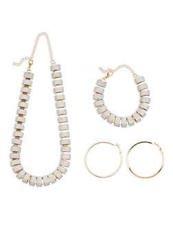 Glitter Necklace Bracelet and Hoop Earrings - 1138062928934