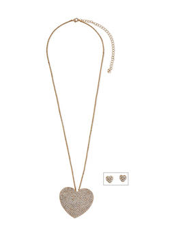 Rhinestone Heart Necklace with Earrings - 1138062929193
