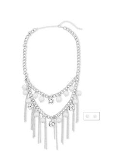 Rhinestone and Pearl Fringed Necklace with Earring Set - 1138062929432
