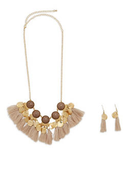 Tassel Disc Necklace and Earrings - 1138062929612