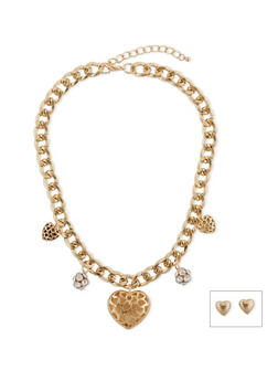 Heart and Rhinestone Charm Curb Chain Necklace and Earring Set - 1138062929775