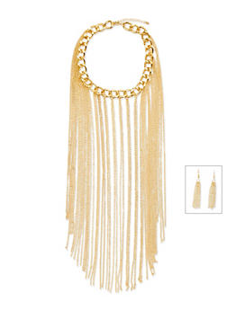 Fringe Bib Chain Link Collar Necklace and Earrings Set - 1138067259232