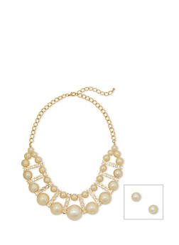 Faux Pearl and Rhinestone Statement Necklace with Earrings - 1138069754757