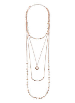 Multi Tiered Necklace with Pearl and Rhinestone Accents - 1138069757643