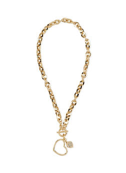 Heart Cable Chain Collar Necklace with Toggle Closure - 1138070431555