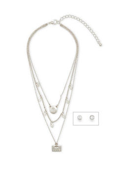 Layered Mini Charm Necklace with Stud Earrings - 1138070432002