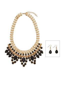Chunky Jeweled Bib Necklace and Earring Set - 1138071071414