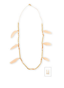 Square Bead Feather Necklace With Drop Earrings Set - 1138071214115