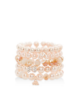 Set of Faux Pearl Stretch Charm Bracelets - 1138071431716