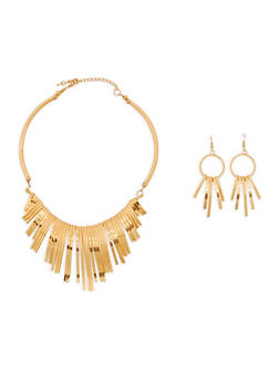 Curved Stick Collar Necklace And Drop Earrings - 1138071435101