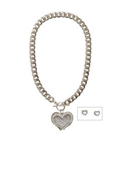 Rhinestone Heart Chain Necklace and Earrings Set - 1138071435816