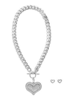 Toggle Chain Rhinestone Heart Necklace with Stud Earrings - 1138071435861