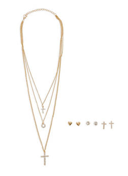 Layered Charm Necklace with Stud Earrings - 1138071437155
