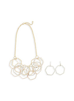 Geometric Layered Necklace Set with Earrings - 1138072370806