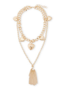 Tiered 5 Heart Tassel Necklace - 1138072370812