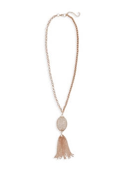 Mesh Egg Tassel Necklace with Rhinestones - 1138072370827