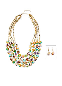 4 Row Marble Beaded Necklace with Earrings - 1138072370847