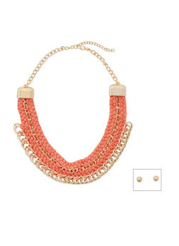 Woven Chain Link Collar Necklace and Earrings Set - 1138072377250