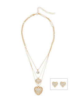 Layered Rhinestone Heart Necklace with Heart Stud Earrings - 1138072378157