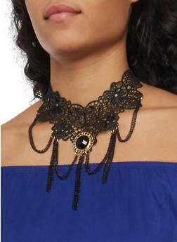 Crochet Choker with Rhinestone and Chain Fringe - 1138072378220