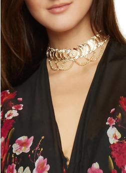Medallion Chain Choker Necklace - 1138072378231