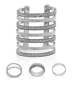 Rhinestone Cuff Bracelet with Rings - 1138072691571