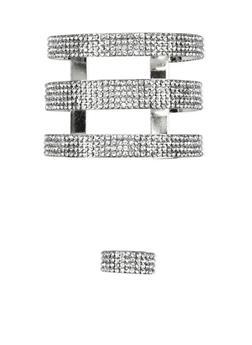 Rhinestone Three Row Cuff Bracelet and Ring Set - 1138072691601