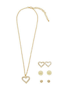 Set Of Three Earrings and Heart Pendant Necklace - 1138072692202