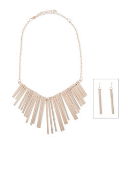 Glitter Fringe Necklace and Earring Set - 1138072694274