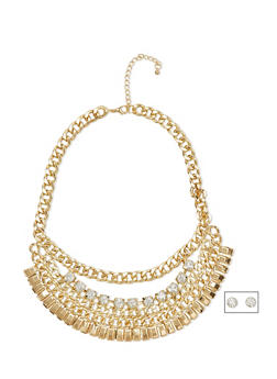 Box and Curb Chain Collar Necklace with Rhinestone Earrings - 1138072694298