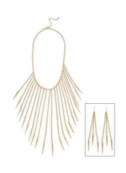 Spiked Fringe Collar Necklace with Matching Earrings - 1138072694311