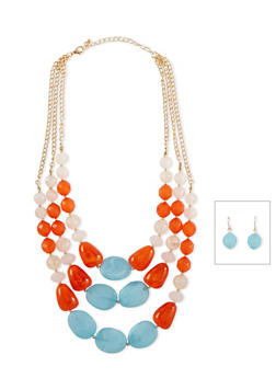 Tiered Glass Bead Necklace and Earring Set - 1138072694327