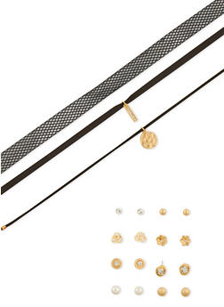 Assorted Choker Trio and 6 Stud Earrings Set - 1138072694510