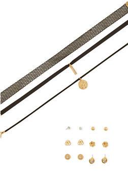 Assorted Choker Trio and 6 Stud Earrings Set - 1138072694510