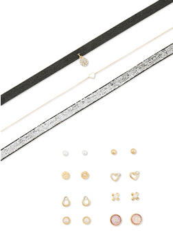Rhinestone and Pearl Stud Earrings with Trio of Choker Necklaces - 1138072694676