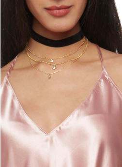 Choker and Charm Necklace Set - 1138072695866