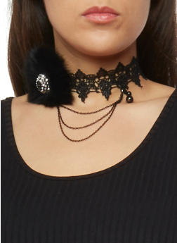 Crochet Choker Necklace with Faux Fur and Rhinestone Details - 1138072695872